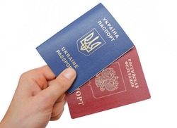 Foreign passport of citizen Russian Federation and Ukraine and a national passports of the Russian Federation, Ukraine on white background