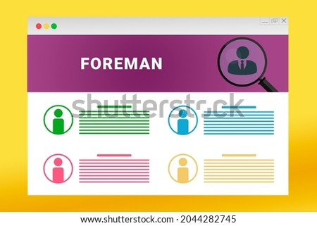 Foreman logo in header of site. Foreman text on job search site. Online with Foreman resume. Jobs in browser window. Internet job search concept. Employee recruiting metaphor ストックフォト ©