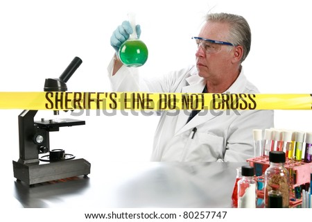 forensic analysis working in a lab collecting and documenting evidence collected from a crime scene. isolated on white with room for your text