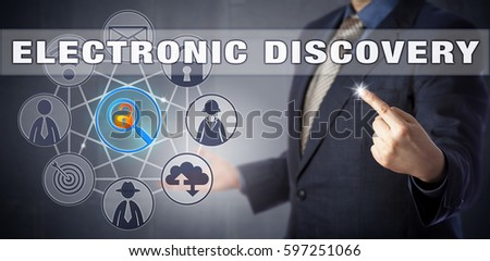Forensic specialist in blue business suit starting an ELECTRONIC DISCOVERY process. Digital forensics and litigation metaphor, information technology concept for the civil procedure of e-discovery.