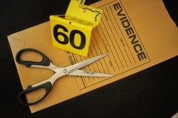 Forensic tools evidence marker evidence bag and scissor
