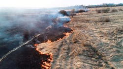 Forest and field fire. Dry grass burns, natural disaster. Aerial view. Strong fire in an empty field, strong smoke from a burning place. Flying over a fire at low altitude.