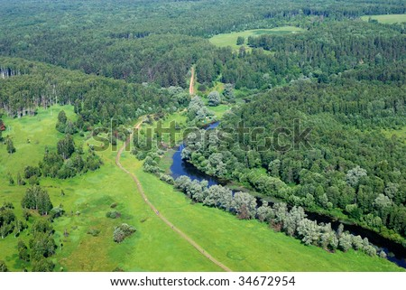 Forest and river air view
