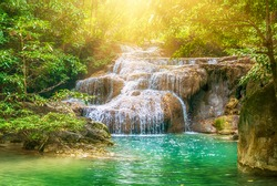 Forest and waterfall at Ton Nga Chang Waterfall, Songkhla, Thailand. Tourustic attraction and famous sightseeng, natural outdoor jungles landscape