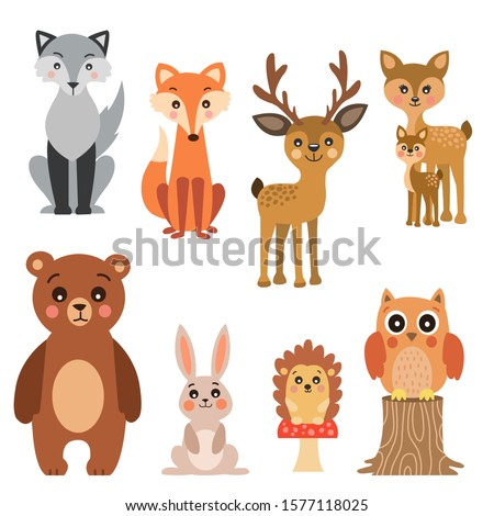 Forest animals collection.Set of cute animal illustrations isolated on white background.Children illustrations.