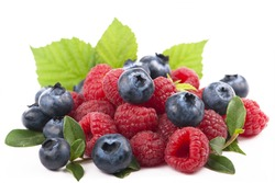 forest berries, Many blueberries & raspberries. Isolated white