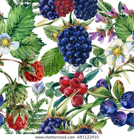forest berries seamless pattern. Blackberries, strawberries, cranberries, blueberries watercolor illustration