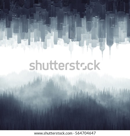 Forest city haze / 3D illustration of urban cityscape and tree covered hills coming together through mist