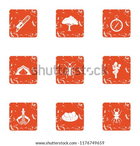 Forest dweller icons set. Grunge set of 9 forest dweller icons for web isolated on white background