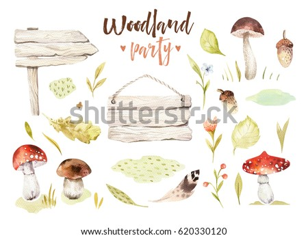 Forest elements witn mushrooms, branches, grassl for kindergarten, isolated illustration for children , pattern. Watercolor Hand drawn boho kids image Perfect fornursery posters, postcard