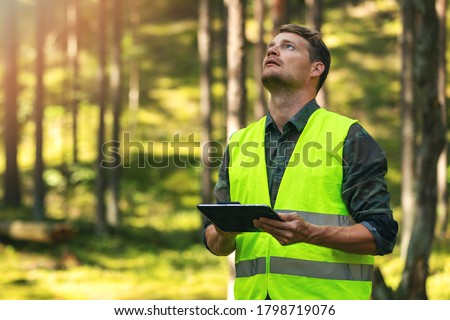 forest evaluation and management - forestry engineer working with digital tablet in the woods Stock photo ©
