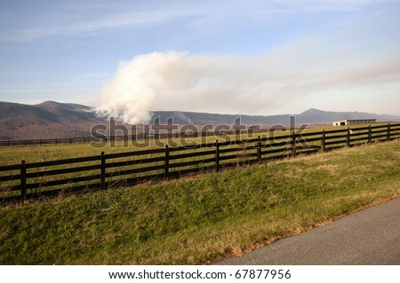 Forest fire in the Blue Ridge Mountains of Virginia. - stock photo