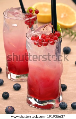 Forest fruit cocktail drinks.Cocktail drinks and fruit