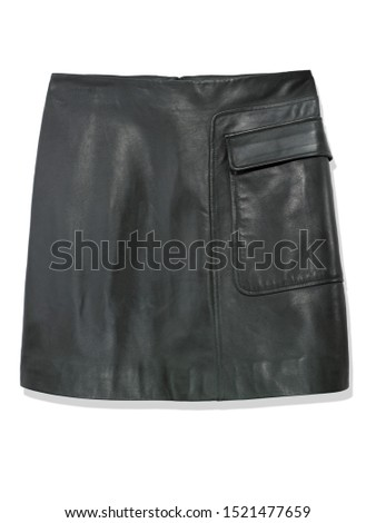 FOREST GREEN LEATHER MINI SKIRT on white background #1521477659