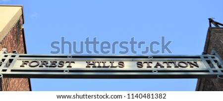 Forest Hills New York Queens Station LIRR entrance Sign NYC Long Island Railroad  Stock fotó ©
