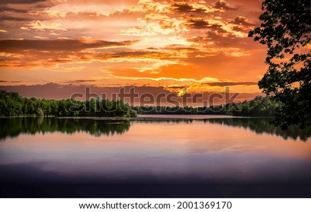 Forest lake at sunset landscape. Lake view at sunset. Sunset lake view. Lake sunset landscape