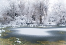 forest lake at winter time.Winter landscape, lake in a snowy forest.