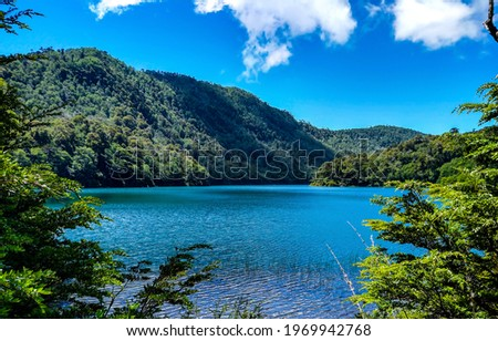 Forest lake in the mountains. Mountain lake view. Lake in mountain forest. Mountain forest lake