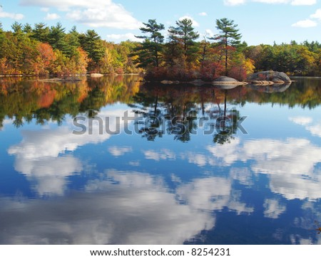 Forest  lake reflecting autumn trees
