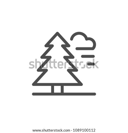 Forest line icon isolated on white