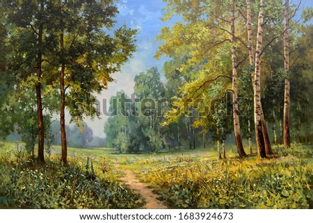 Forest path along a group of beautiful birches lit by sunlight in the summer,oil painting, fine art, the flowers, summer, tree, park, nature