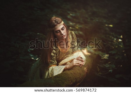 Forest princess friend of the fairies. Fantasy story #569874172