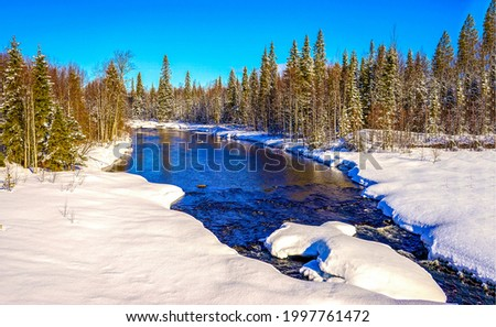 Forest river in the winter snow forest. Winter forest river snow. Winter river in snow forest. Winter river landscape