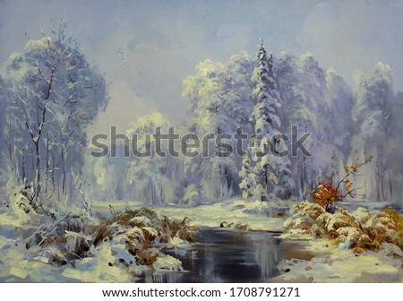forest river on a winter morning after a snowfall,oil painting, fine art, snow, winter, landscape, nature, water, river, trees