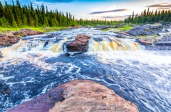 Forest river rapids wild flow view