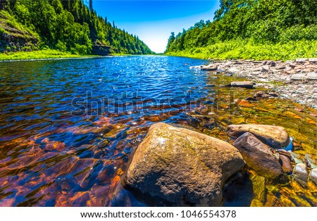 Forest river stones landscape - Shutterstock ID 1046554378