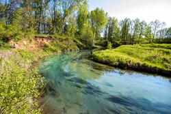 Forest river with clear water, beautiful landscape in Russia.
