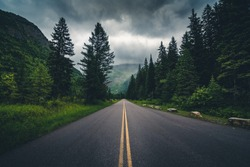 Forest road on a cloudy day. Glacier National Park, Montana, USA