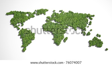 Forest shaped like world map