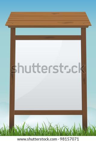 Forest Sign Billboard/ Illustration of a cartoon vertical blank wood billboard sign on a summer or spring  season background