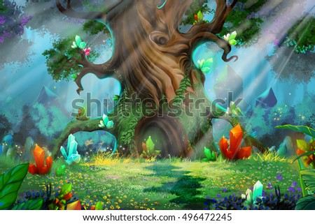 stock photo forest treasure video game s digital cg artwork concept illustration realistic cartoon style 496472245 - Каталог — Фотообои «Для детской»