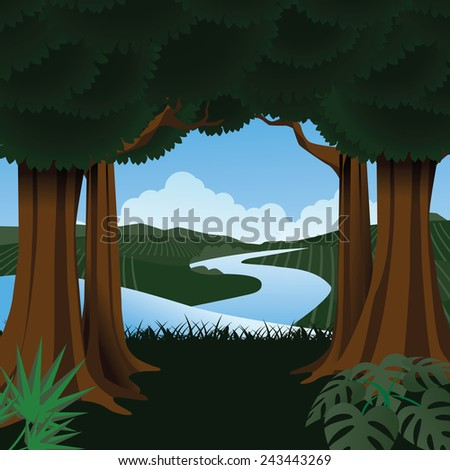 Forest with stream in the background stock illustration