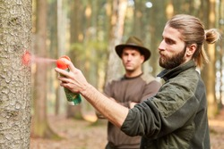 Forester and forester mark tree with a red spray can in the forest