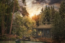 Forester Cabin by the river in the forest (illustration of a fictional situation, in the form collage of photos)