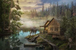Forester's Cabin by the river in the forest (illustration of a fictional situation, in the form collage of photos)