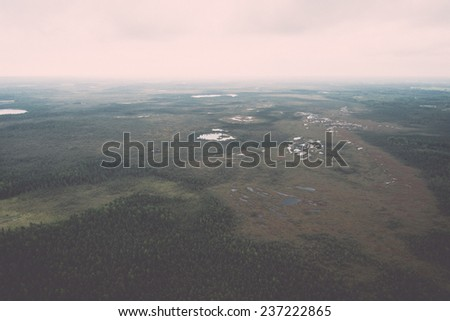 forests and fields from above - retro, vintage style look