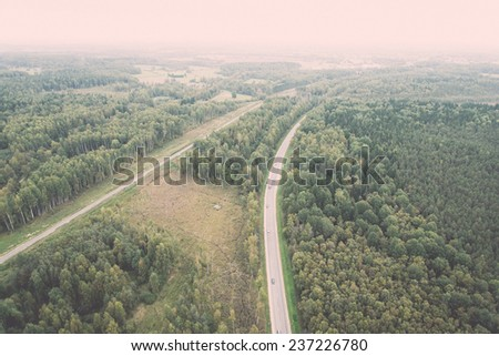 forests and roads from above - retro, vintage style look
