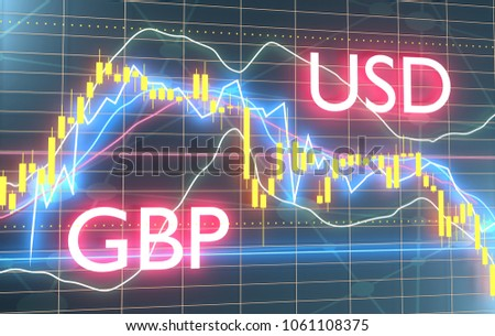 Forex candlestick pattern. Trading chart concept. Financial market chart. Currency pair. Acronym GBP - Great Britain Pound. Acronym USD - United States Dollar. 3D rendering