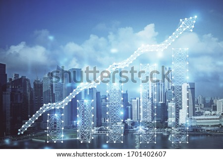 Forex chart on cityscape with skyscrapers wallpaper multi exposure. Financial research concept.