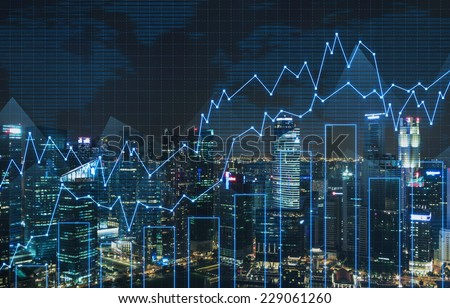 Forex graph and an amazing night view of the business city centre. A metaphor of international financial consulting.