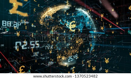 Forex International global investment in foreign currency financial money markets and exchange of Euros, pounds, dollars and yen - Conceptual 3D render