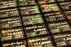 Forex tickers board with currency rate for Eur, Dollar and other currencies.