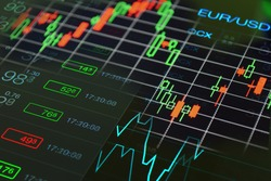 Forex trading concept. Forex charts,  graph, tickers and currency exchange rate of Euro Dollar at the black background.