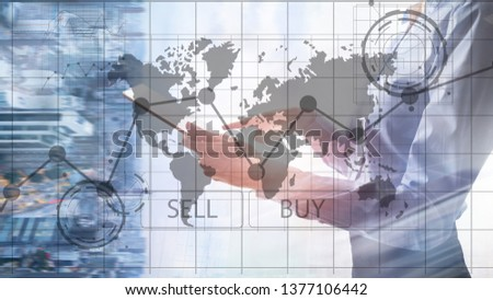 Forex Trading Investment Financial Chart Graphs. Business and technology concept. #1377106442