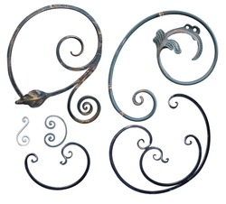 forged black steel element with curls, bends and plant elements for gates and doors,image on a white background isolated