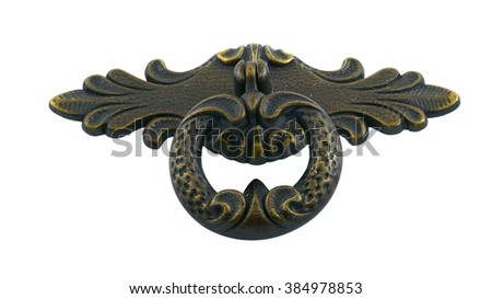 Forged Bronze Door handle for furniture on a white background Сток-фото ©